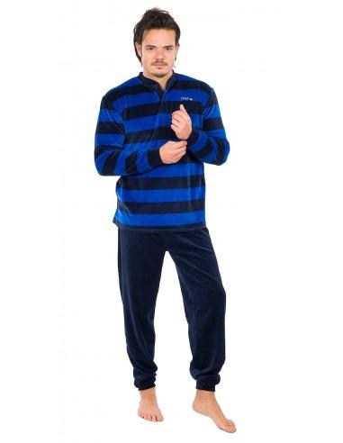 Pijama caballero terciopelo listas horizontales MUSLHER