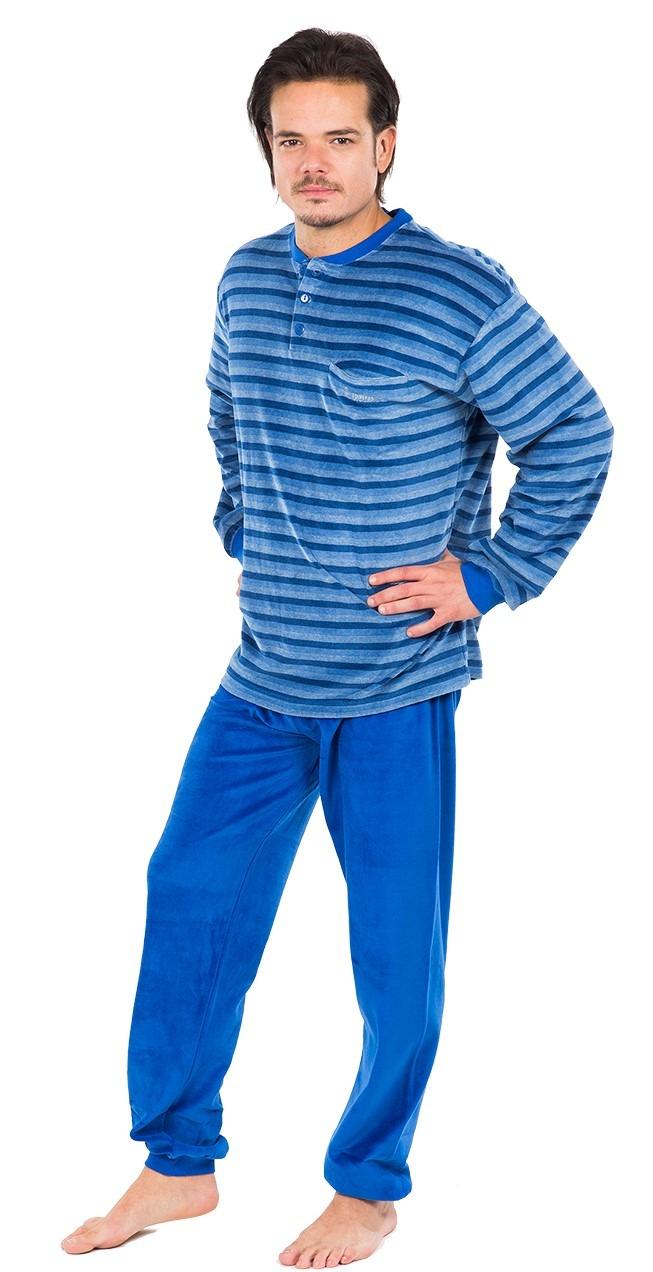 Pijama caballero terciopelo tapeta franjas horizontales MUSLHER