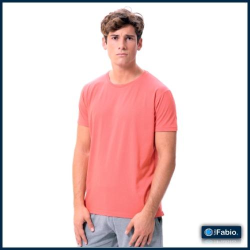 Camiseta exterior hombre algodón cuello redondo manga corta