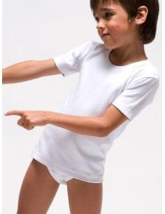 Camiseta niño termal manga corta felpado algodón RAPIFE