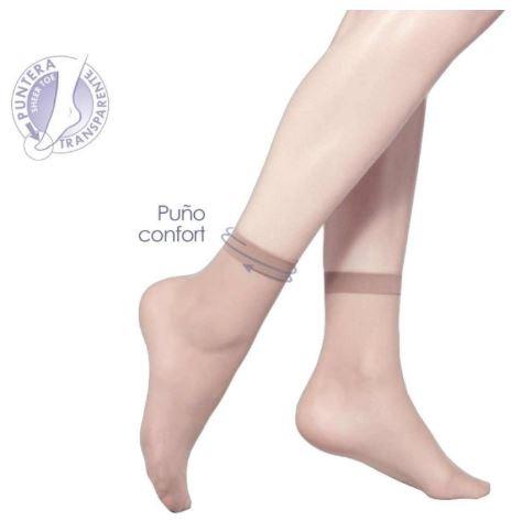 Pack 2 medias calcetínes tobilleros licra con goma y puntera transparente MARIE CLAIRE