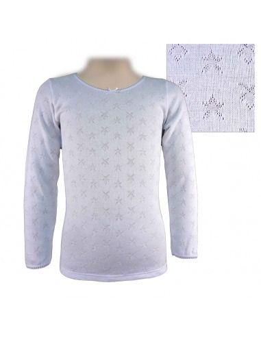 Camiseta niña larga estrellas noche lazo PERA