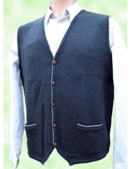 Chaleco hombre abierto punto bolsillos liso lana COLMAR
