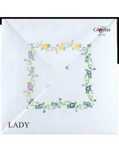 Pañuelo señora algodón estampado flores cuadro Canellas