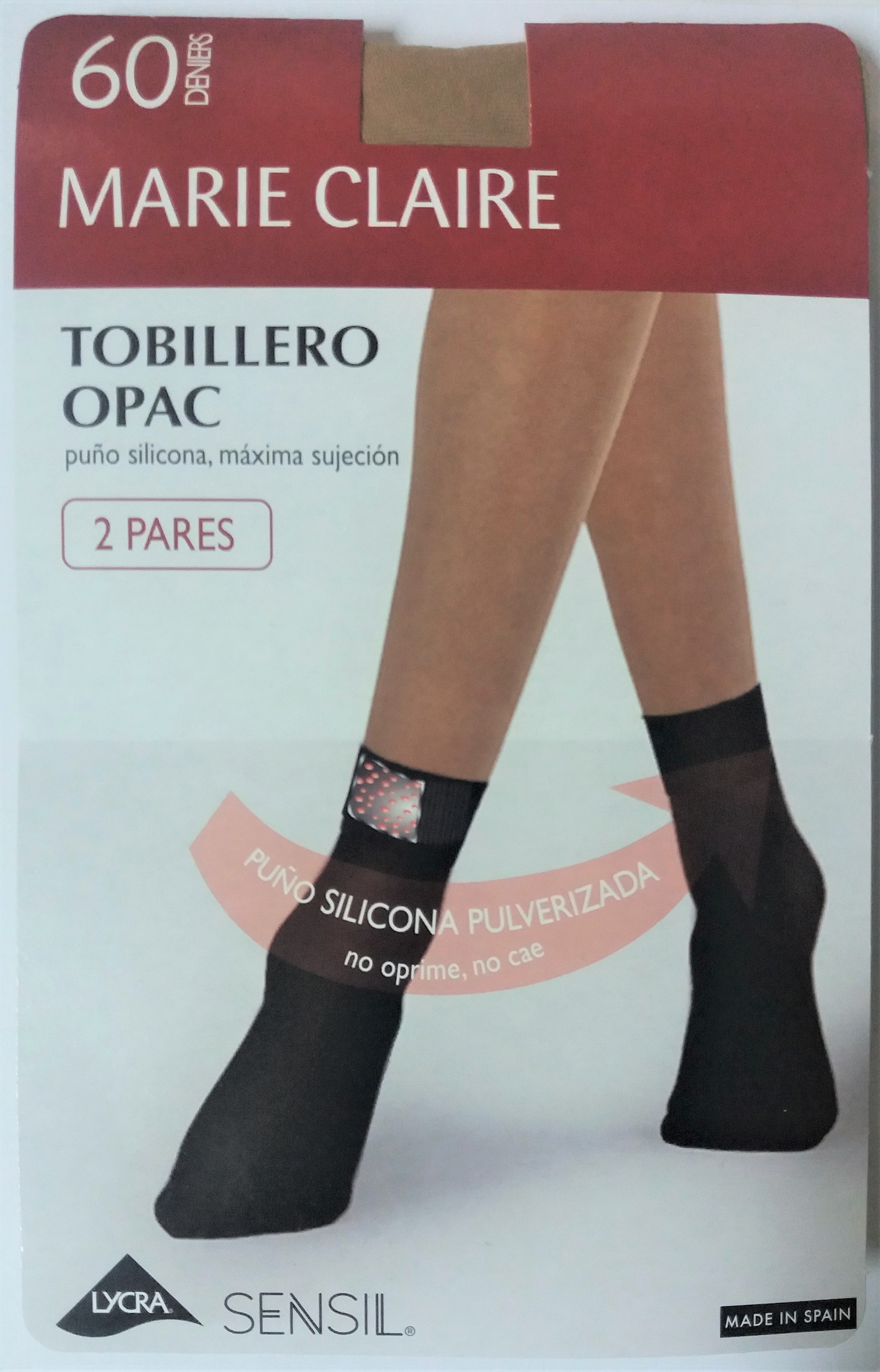 Pack 2 pares tobillero 60 den. silicona puño MARIE CLAIRE