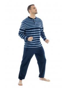 Pijama caballero terciopelo franjas botones puño MUSLHER