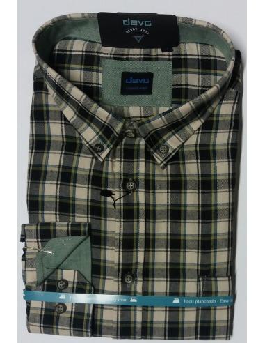 Camisa viella hombre cuadros manga larga verde DAVÓ