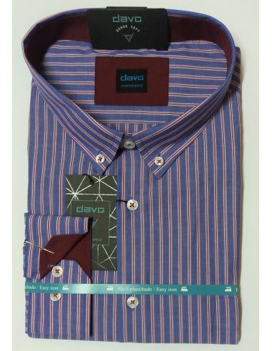 Camisa hombre listas azul-grana algodón manga larga botones bolsillo DAVÓ