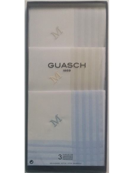 Pack de 3 pañuelos caballero iniciales GUASCH