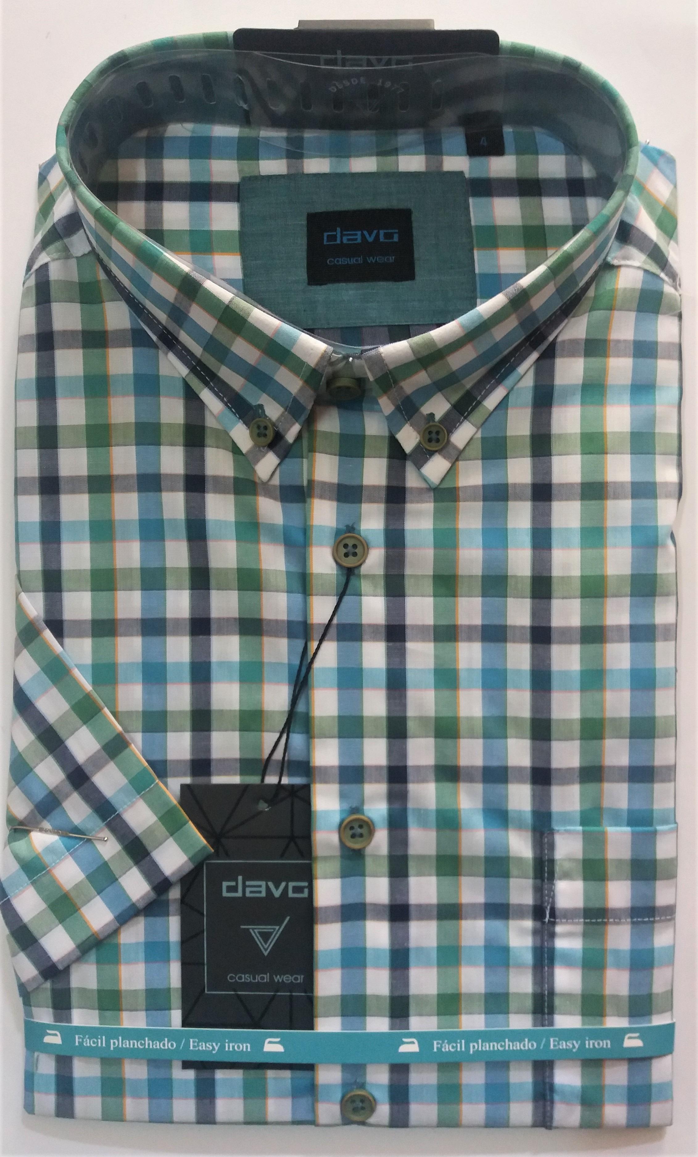 Camisa hombre cuadros variados algodón manga corta botones bolsillo DAVÓ