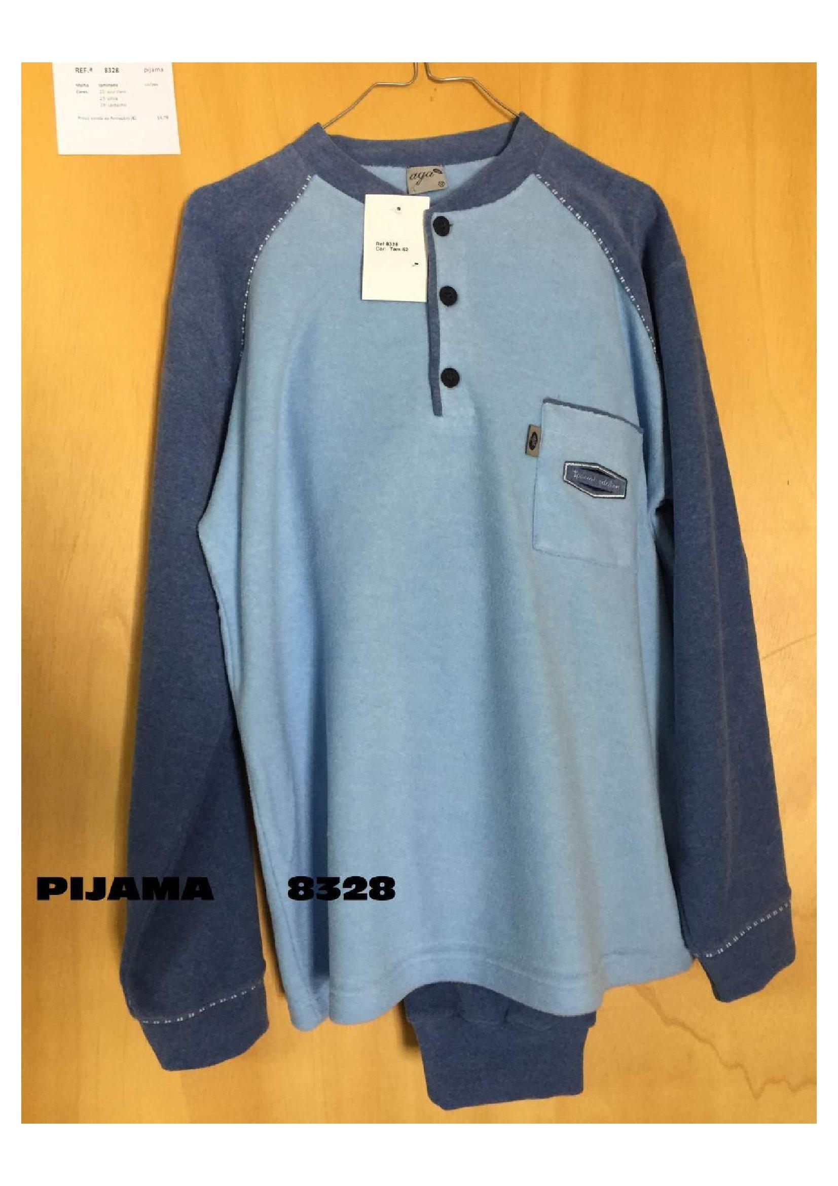 Pijama largo polar tapeta hombre bolsillo puño AGA