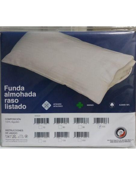 Funda almohada algodón raso listado D.N. MODA HOGAR