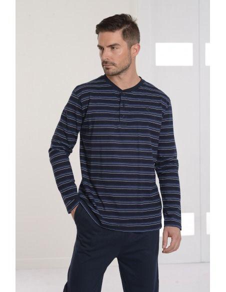 Pijama hombre entretiempo punto largo tapeta bolsillo BUHO NOCTURNO