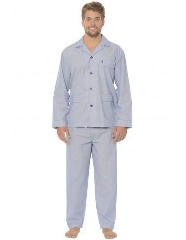 Pijama hombre clásico liso popelín marga larga abierto BUHO NOCTURNO