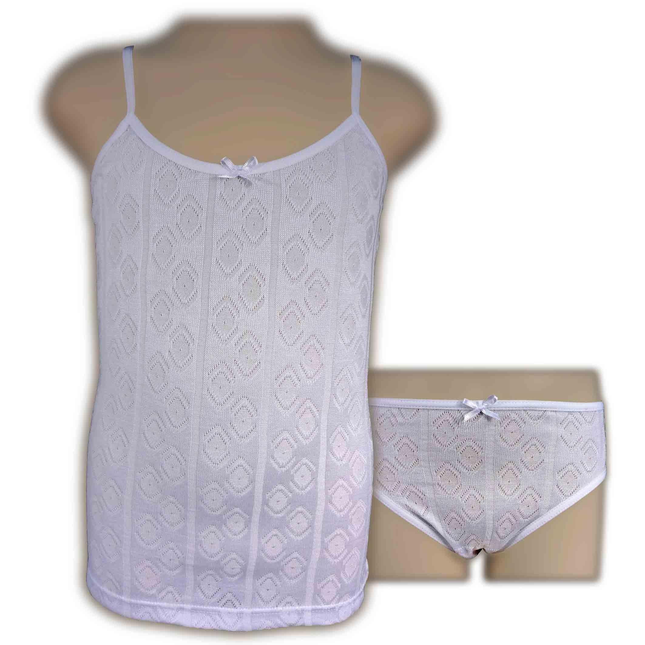 Conjunto niña camiseta tirantes braga relieve PERA