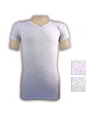 Camiseta niña corta estrellas lazo PERA